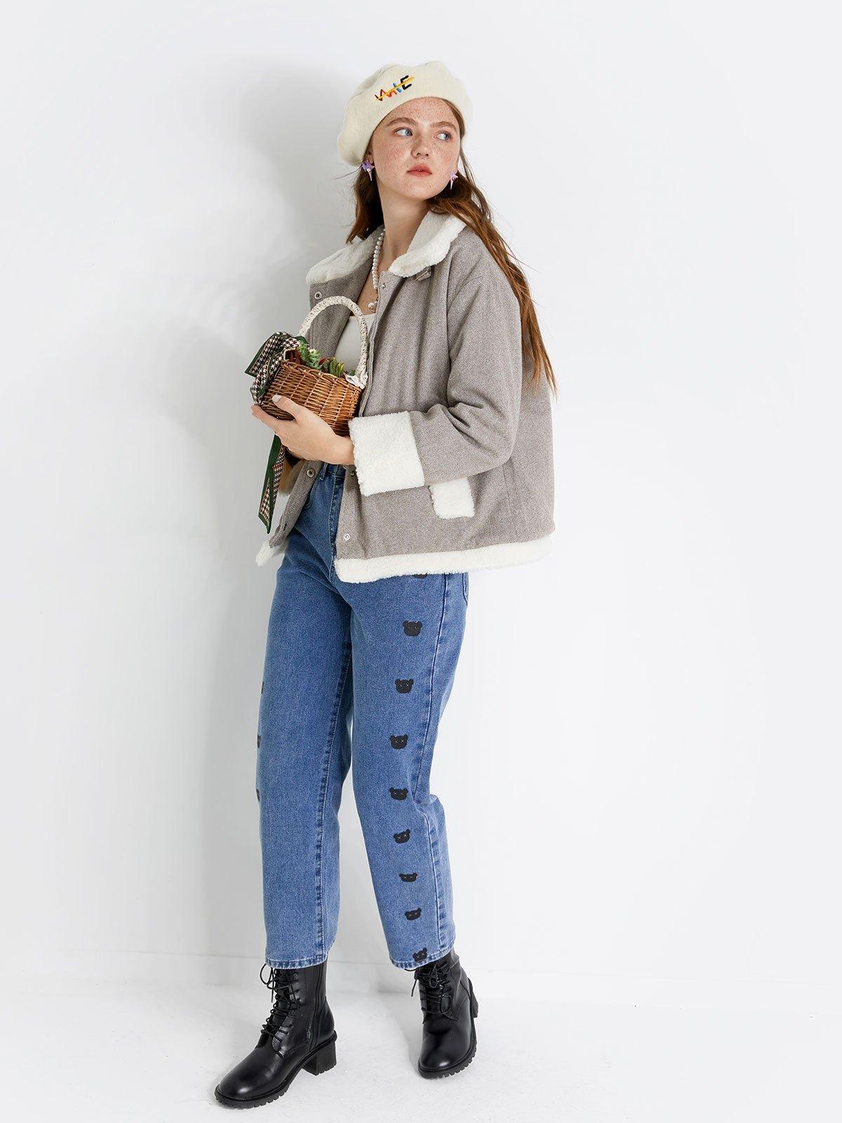 Faux Fur Trim Woolen Jacket - Brown XL