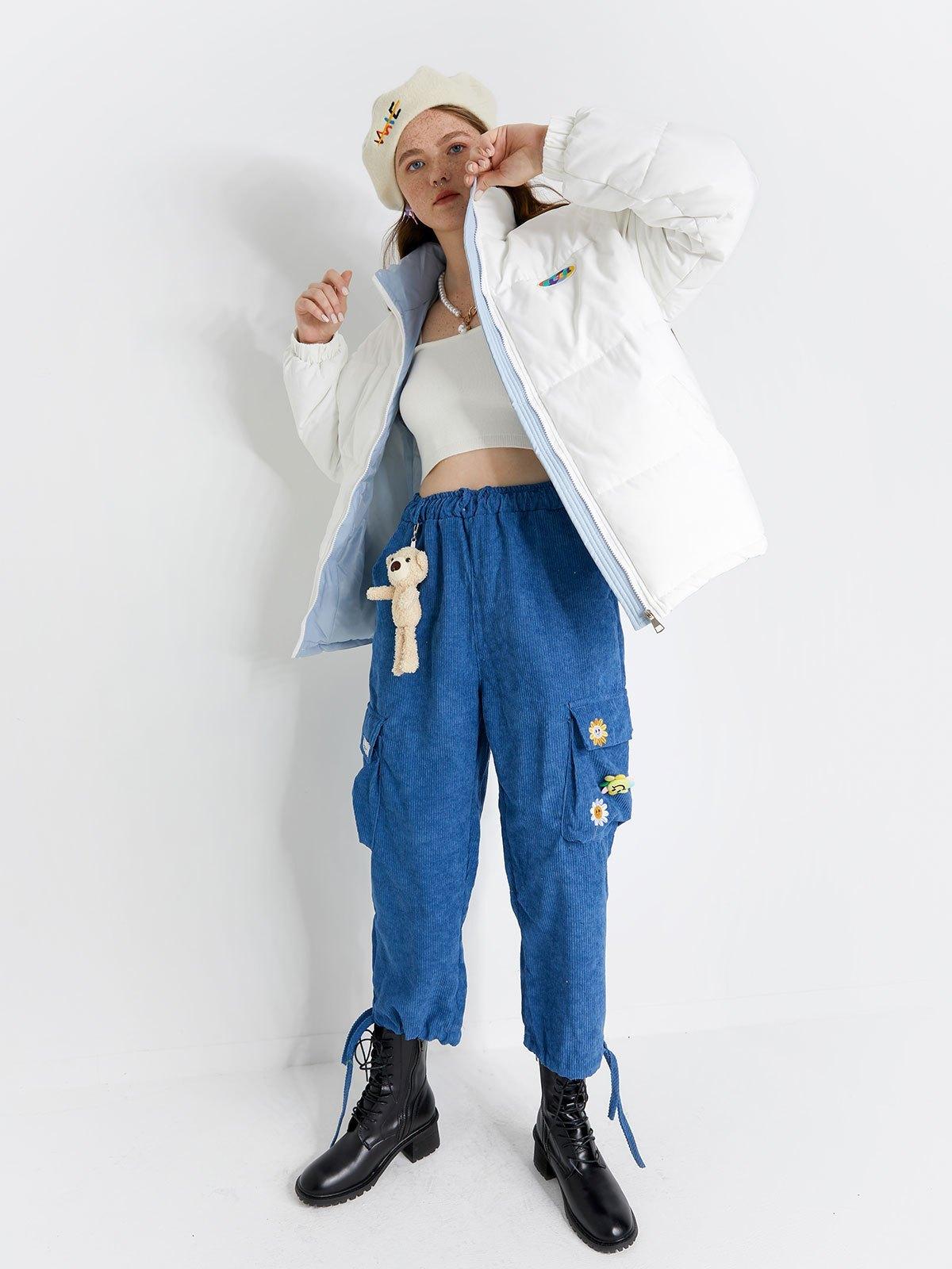 Oversized Zipper Padded Coat - White XL