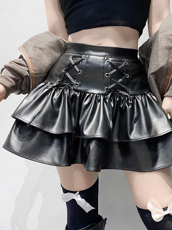 Pu Leather Ruffle Mini Skirt - Black S