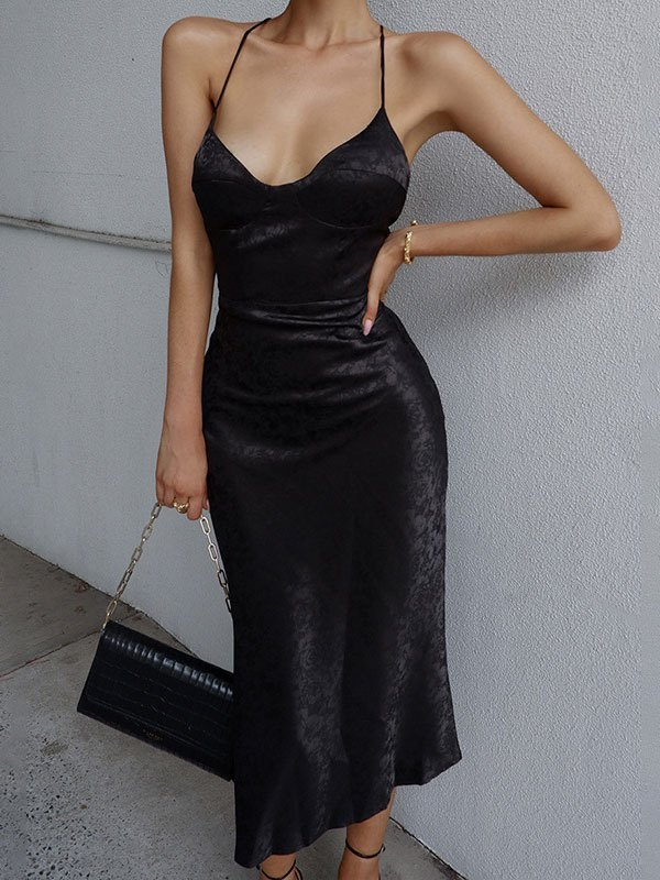 Backless Embossed Satin Maxi Dress - Black L