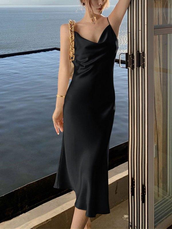 Satin Slip Maxi Dress - Black L