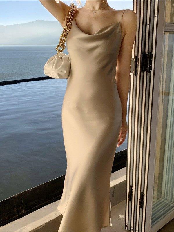 Satin Slip Maxi Dress - Apricot S