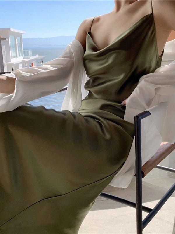 Satin Slip Maxi Dress - Green M