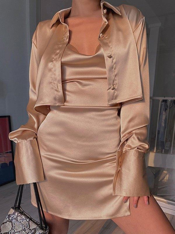 Open Back Satin Slip Mini Dress - Brown L