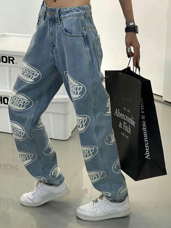 Logo Graphic Boyfriend Jeans - Blue M