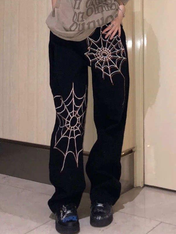 Spiderweb Embroidery Boyfriend Jeans - Black L