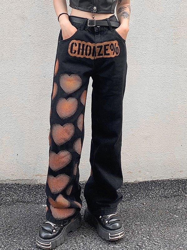 Heart Print Washed Boyfriend Jeans - Black S