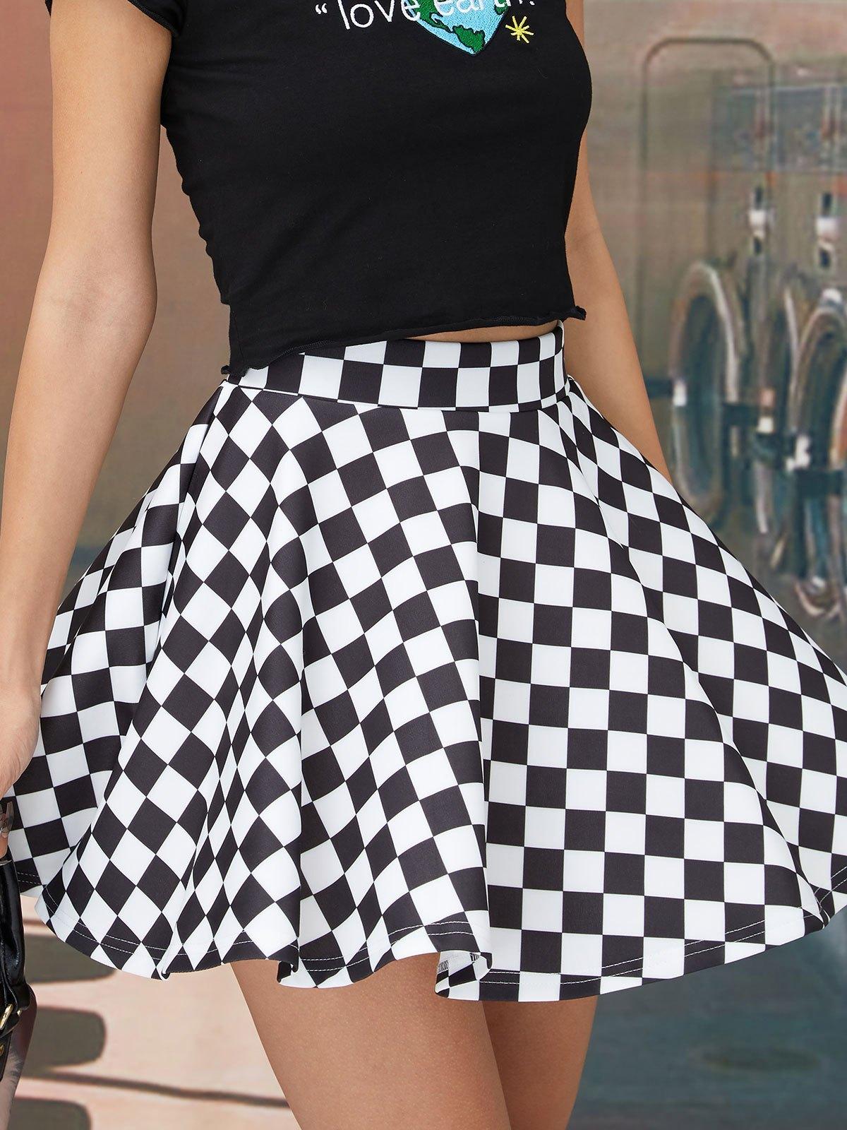 Checkered Print Skate Mini Skirt - Black L