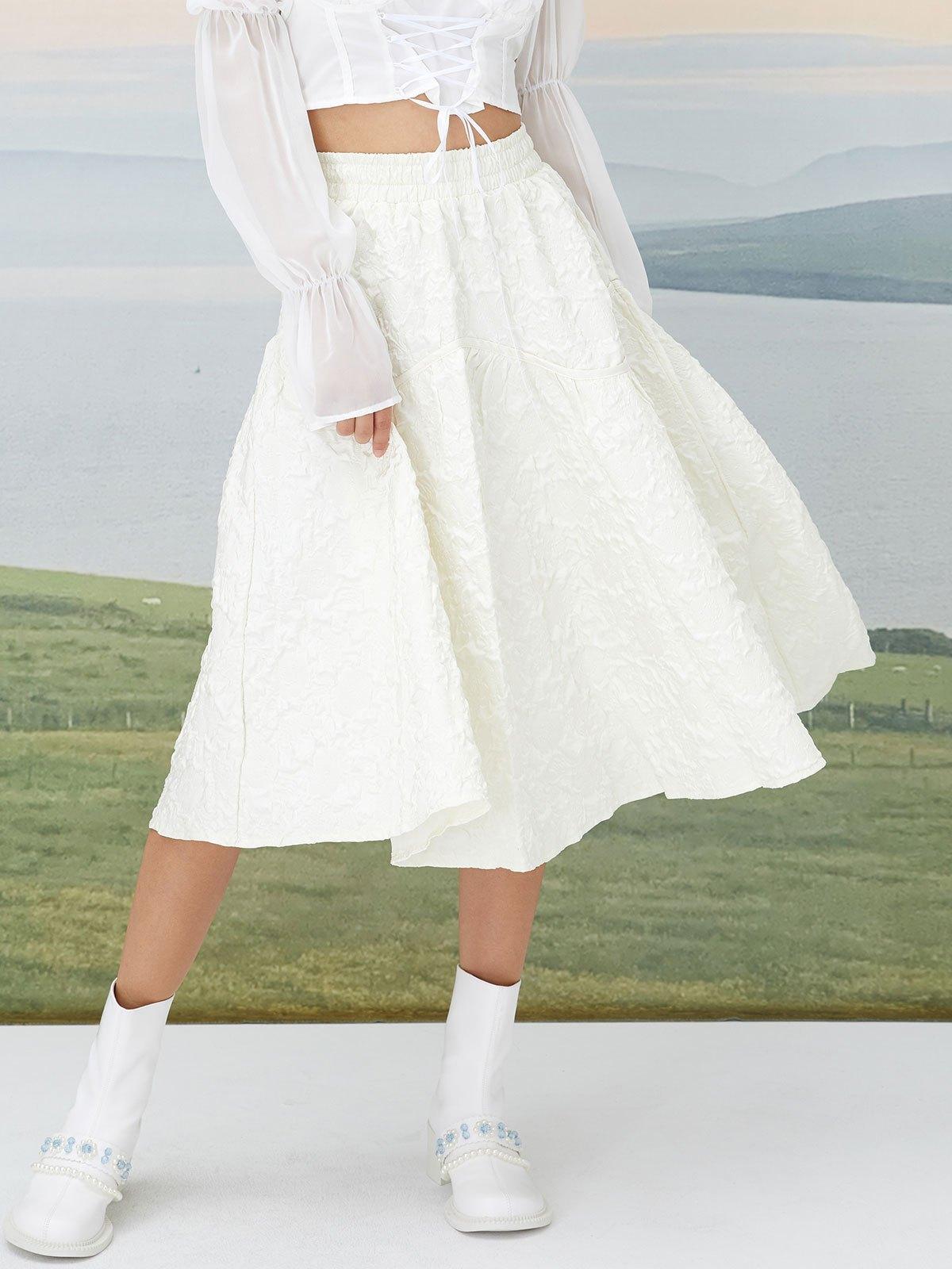 Creased High Waist Midi Skirt - White L
