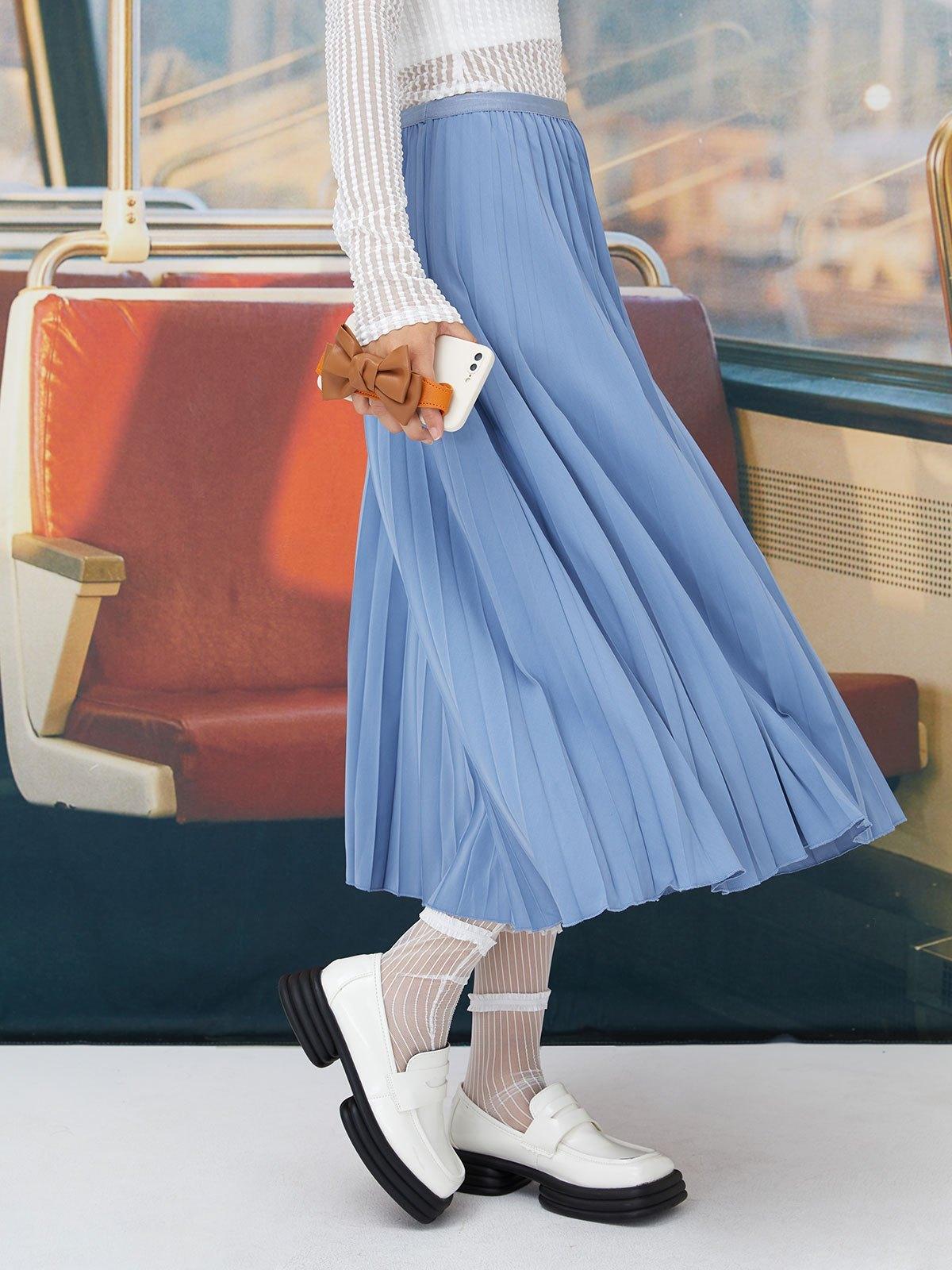 Basic Pleated Midi Skirt - Blue ONE SIZE