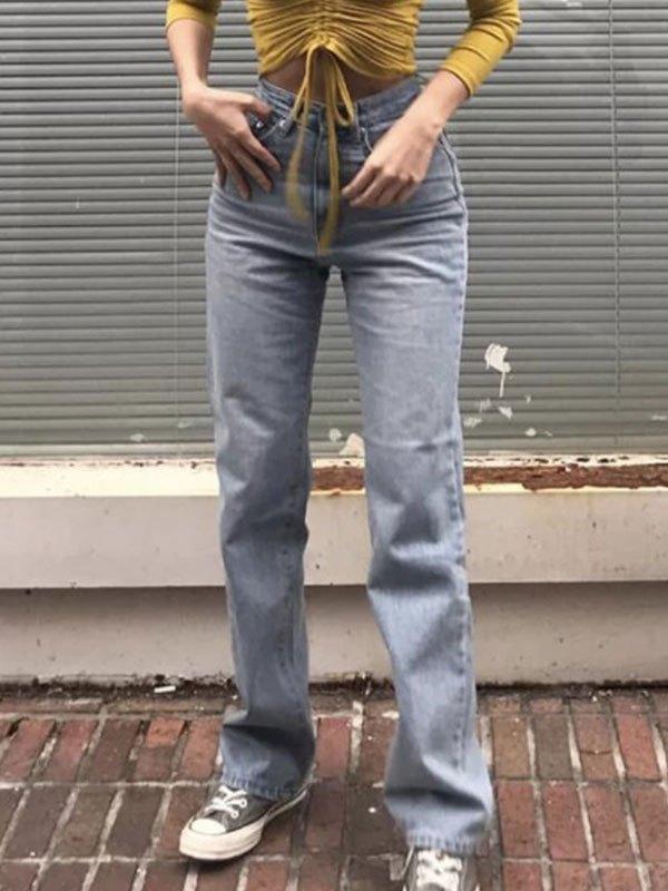 Basic High Waist Boyfriend Jeans - Blue M