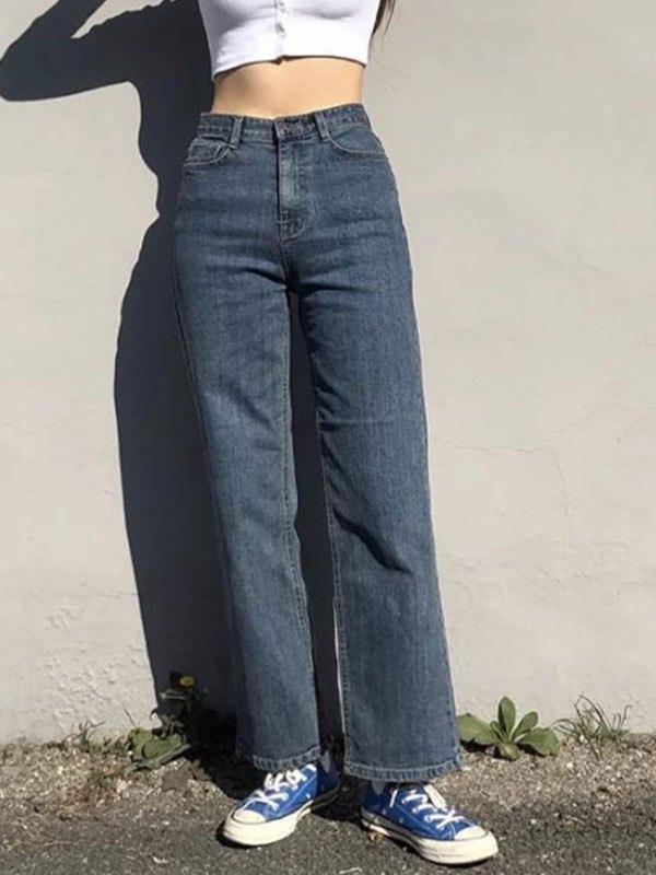 Basic High Waist Boyfriend Jeans - Navy Blue L