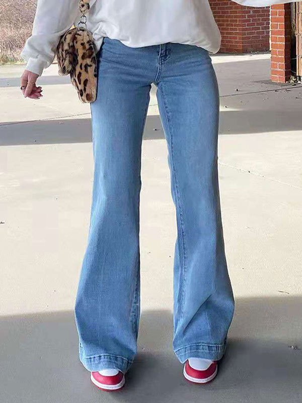 Mid Waist Washed Boyfriend Jeans - Blue L