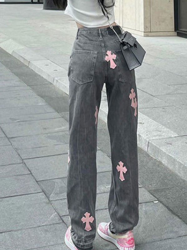 Cross Patched Boyfriend Jeans - Gray L