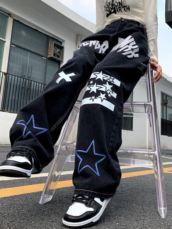 Star Letter Graphic Cargo Jeans - Black S