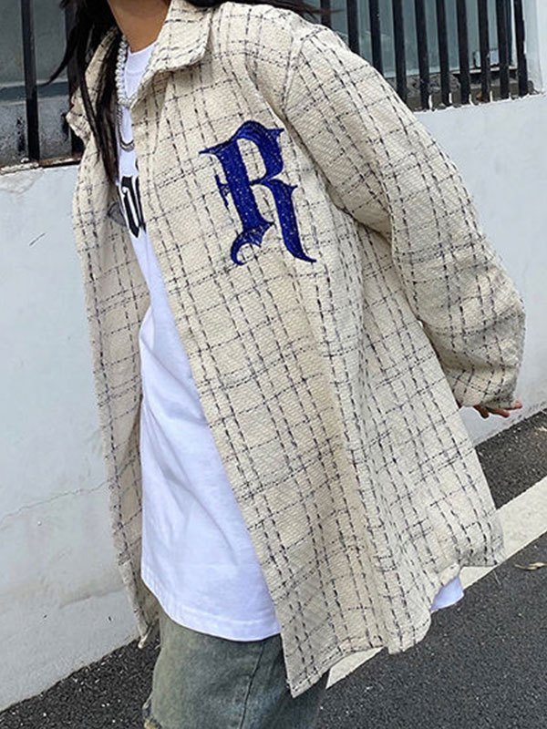Oversize Embroidery Checkered Tweed Jacket - White L