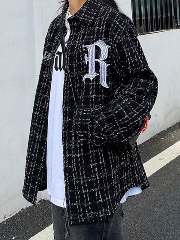 Oversize Embroidery Checkered Tweed Jacket - Black XL