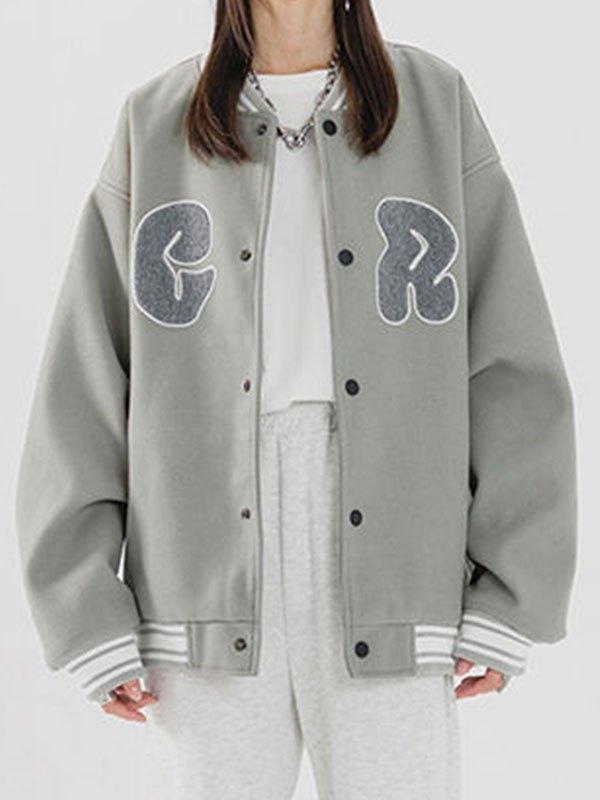 Toweling Logo Embroidery Varsity Jacket - Gray L