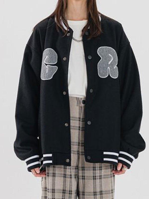 Toweling Logo Embroidery Varsity Jacket - Black L