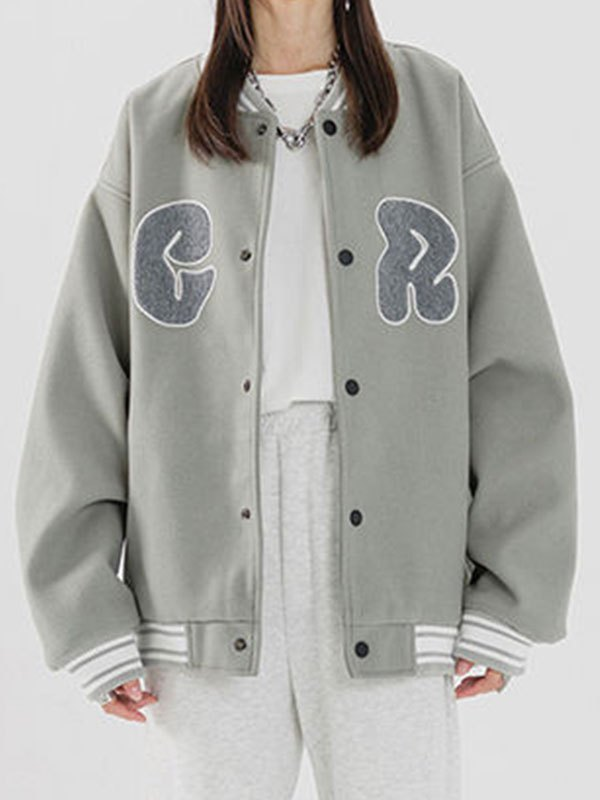 Toweling Logo Embroidery Varsity Jacket - Gray 2XL