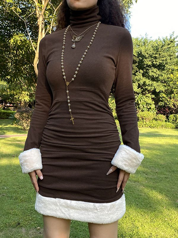 Faux Fur Trim Long Sleeve Mini Dress - Brown M