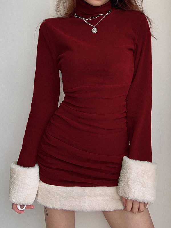 Faux Fur Trim Long Sleeve Mini Dress - Red S