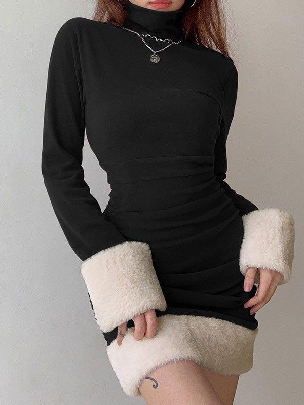 Faux Fur Trim Long Sleeve Mini Dress - Black L