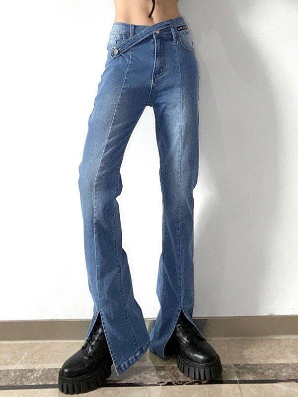 Cross Over Split Boyfriend Jeans - Blue M