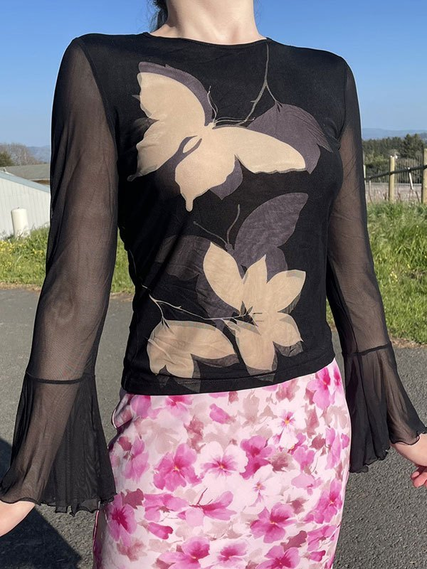 Mesh Paneled Butterfly Long Sleeve Top - Black S