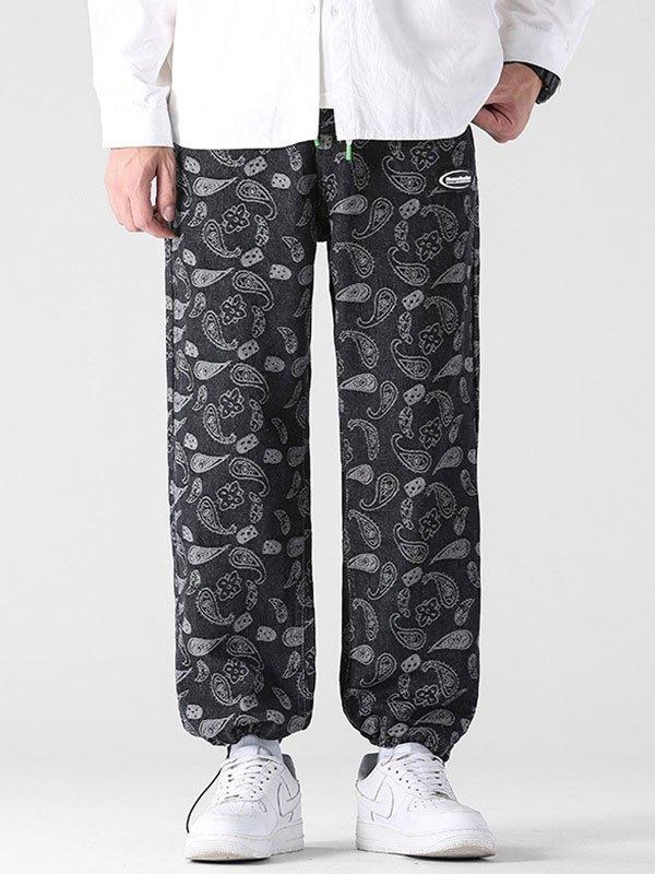 Men's Paisley Jacquard Straight Leg Jeans - Black 4XL