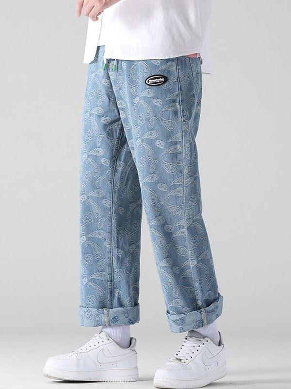 Men's Paisley Jacquard Straight Leg Jeans - Blue 3XL