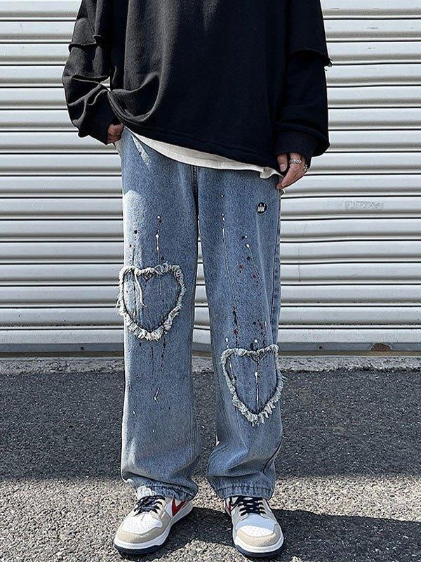 Men's Heart Patched Straight Leg Jeans - Blue XL