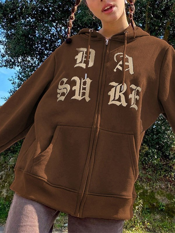 Gothic Letter Graphic Hoodie - Coffee M