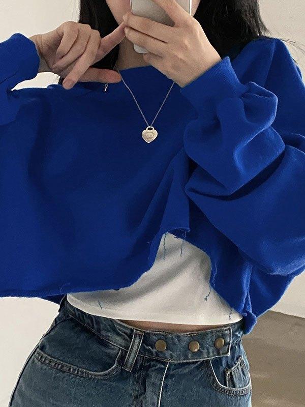 Basic Crew Neck Crop Sweatshirt - Blue L