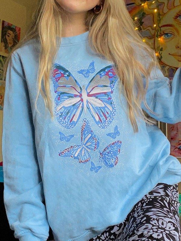 Crew Neck Butterfly Sweatshirt - Blue M