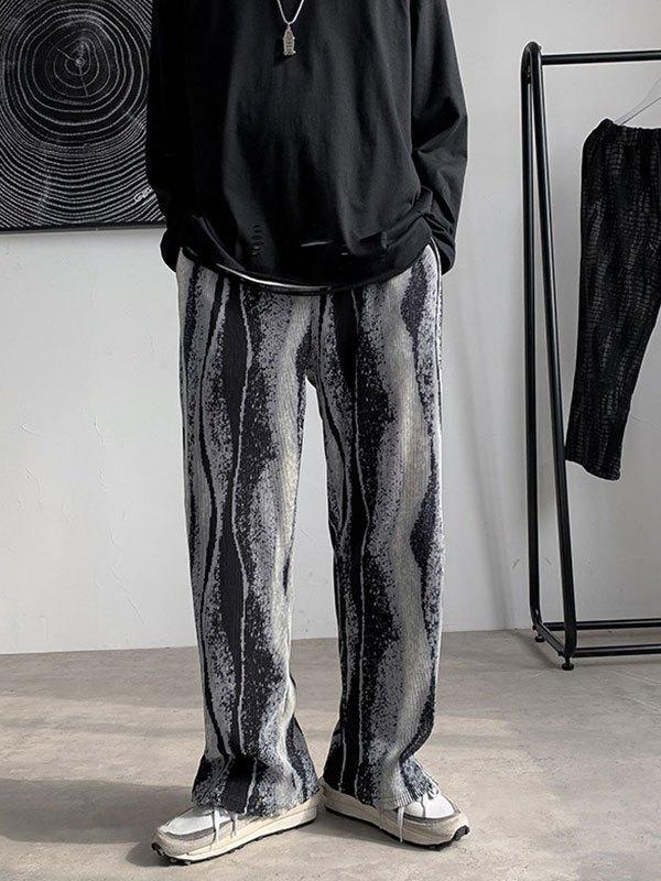 Men's Printed Pleated Straight Leg Pants - Black M