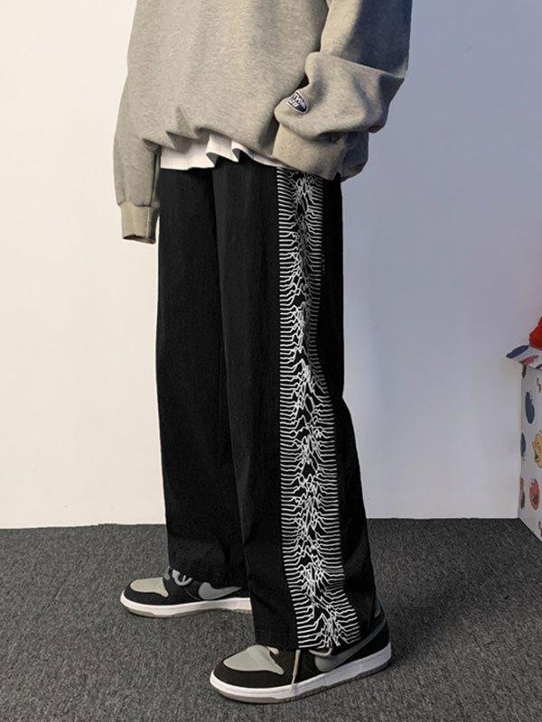 Men's Patchwork Printed Casual Pants - Black M