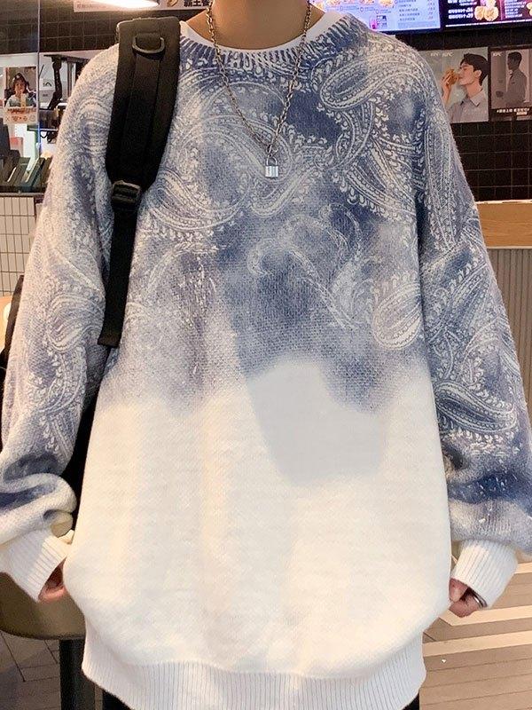 Men's Paisley Print Knit Sweater - White 2XL