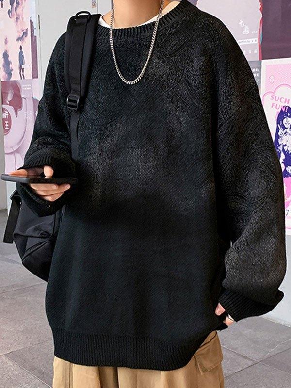 Men's Paisley Print Knit Sweater - Black 2XL