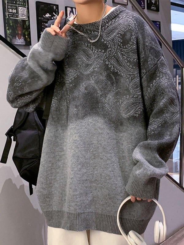 Men's Paisley Print Knit Sweater - Gray 2XL