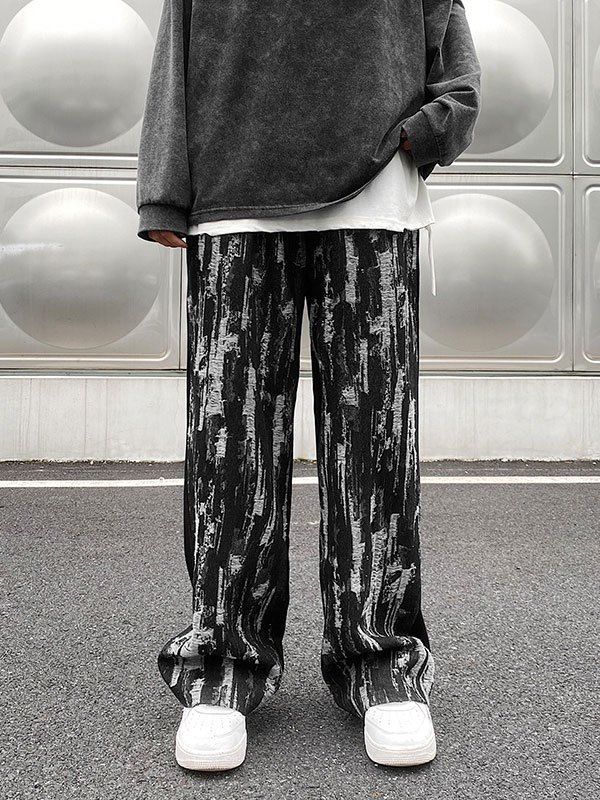Men's Patchwork Distressed Casual Pants - Black M