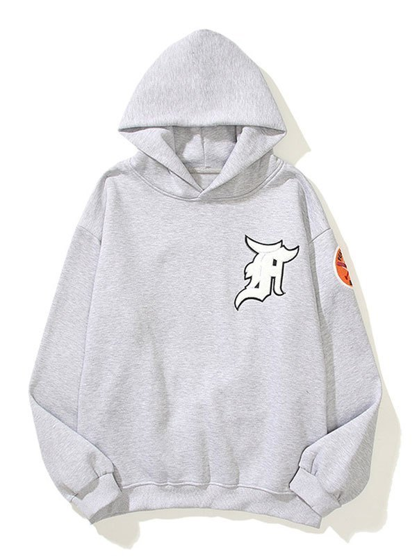 Men's Badge Patched Hoodie - Gray M