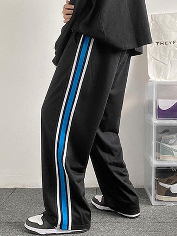 Men's Striped Paneled Track Pants - Black 2XL