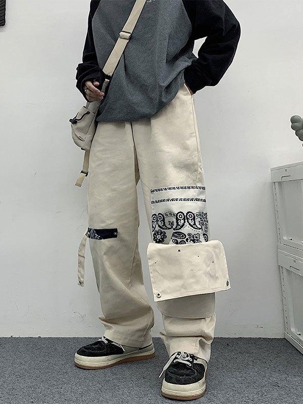 Men's Patchwork Paisley Print Pants - Beige 2XL