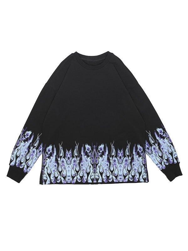 Men's Flame Print Sweatshirt - Black S