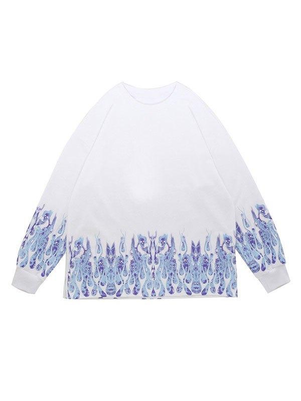 Men's Flame Print Sweatshirt - White XL
