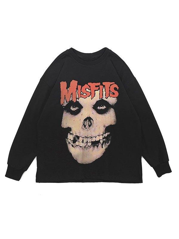 Men's Skull Graphic Crew Sweatshirt - Black S