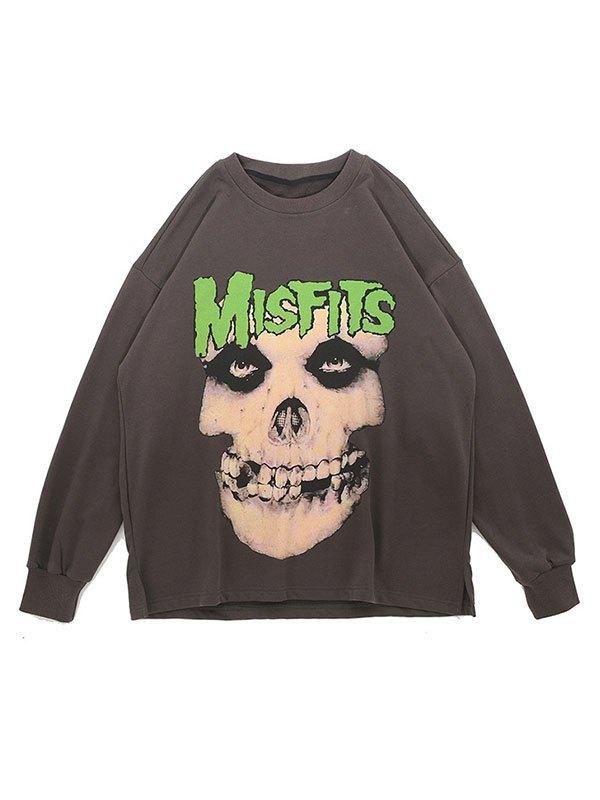 Men's Skull Graphic Crew Sweatshirt - Gray XL