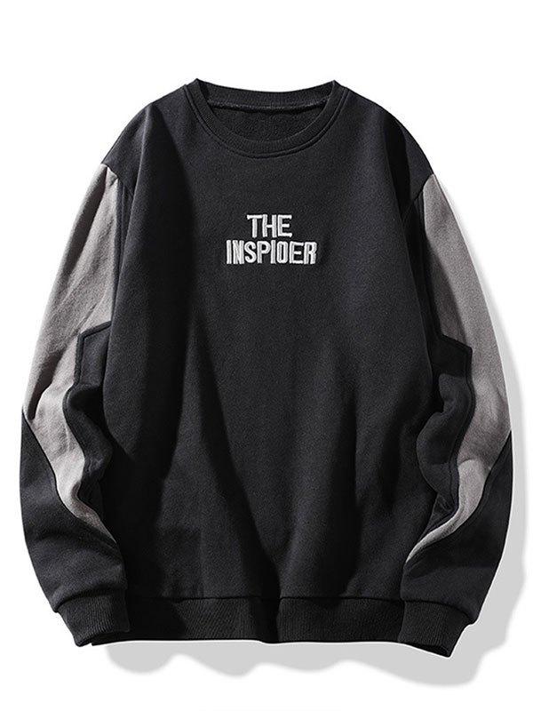 Men's Patchwork Letter Embroidery Sweatshirt - Black 4XL