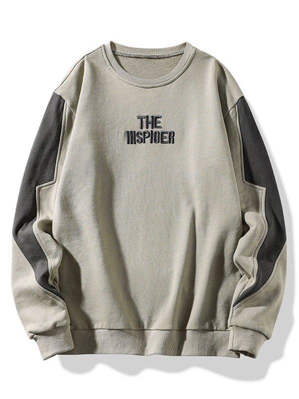 Men's Patchwork Letter Embroidery Sweatshirt - Light Gray M